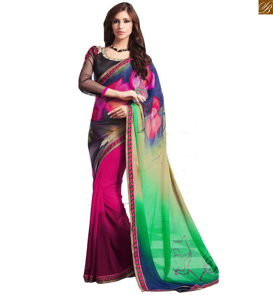 STYLISH BAZAAR ANGELIC GREEN AND PINK GEORGETTE SARI SUPPLEMENTED WITH BLACK BLOUSE RTDOV9104