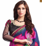 FROM STYLISH BAZAAR ANGELIC GREEN AND PINK GEORGETTE SARI SUPPLEMENTED WITH BLACK BLOUSE RTDOV9104