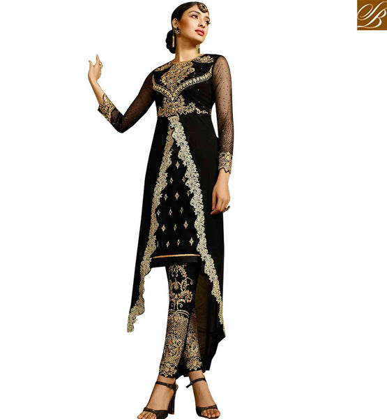 STYLISH BAZAAR BREATHTAKING BLACK COLORED DESIGNER SUIT WITH BEAUTIFUL EMBROIDERED WORK SLAFN9104