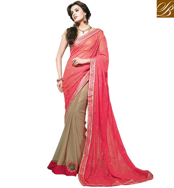 BOLLYWOOD STYLE SARI BLOUSE DESIGNS AT BEST PRICE DAZZLING DUSTY PINK AND BEIGE PARTY WEAR SAREE WITH GOLDEN BLOUSE COMBINATION