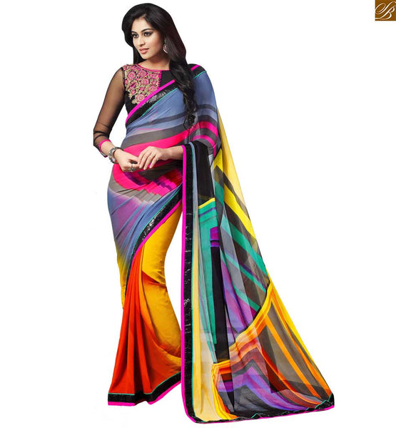 STYLISH BAZAAR EXQUISITE MIX OF YELLOW, ORANGE AND GREY SAREE COMBINED WITH BLACK BLOUSE RTDOV9105