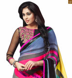 FROM STYLISH BAZAAR EXQUISITE MIX OF YELLOW, ORANGE AND GREY SAREE COMBINED WITH BLACK BLOUSE RTDOV9105