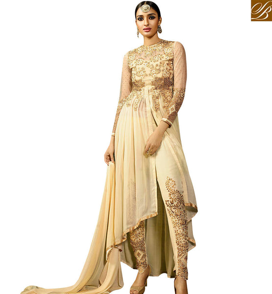STYLISH BAZAAR SPECTACULAR CREAM COLORED DESIGNER WEDDING WEAR SUIT WITH HEAVY EMBROIDERED WORK SLAFN9105