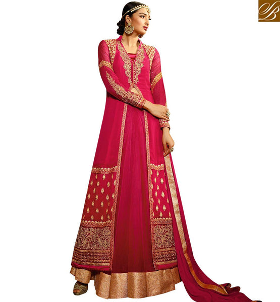 STYLISH BAZAAR ENORMOUS PINK COLORED DESIGNER SALWAR KAMEEZ WITH GLITTERING EMBROIDERY WORK SLAFN9106