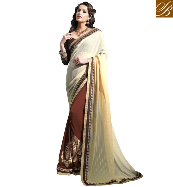 DESIGNER SAREE BLOUSE LOVELY NECK PATTERNS 2015 STYLISH STRIPE WEAVING ON THE PALLOO WITH LEAFY PATTERN EMBROIDERY ON THE LOWER PORTION
