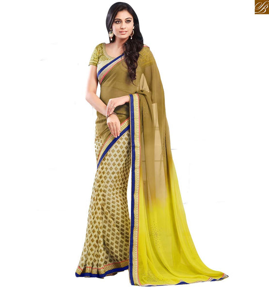 STYLISH BAZAAR SPLENDID CREAM AND YELLOW COLOURED SARI PARTNERED WITH YELLOW BLOUSE RTDOV9107