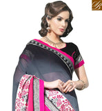 EXCITING FLORAL EMBROIDERY WORK IS DONE ON THE LOWER PORTION AND BORDER SHADED GREY AND PINK  GEORGETTE DRAPE WITH CONTRAST BLACK DUPION CHOLI