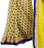 FROM THE HOUSE OF SPLENDID CREAM AND YELLOW COLOURED SARI PARTNERED WITH YELLOW BLOUSE RTDOV9107