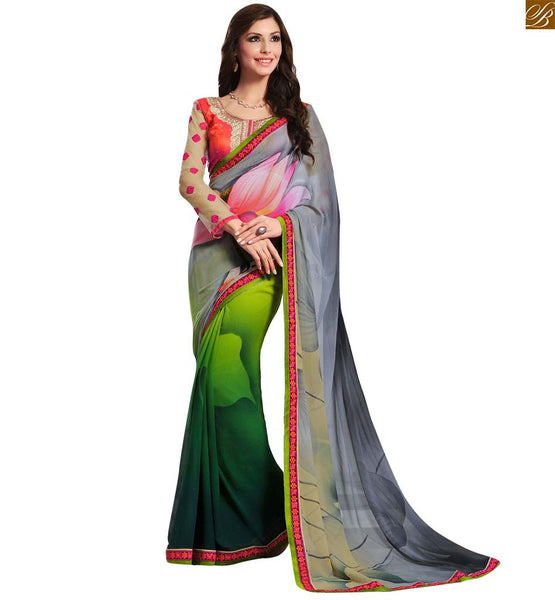 BROUGHT TO YOU BY STYLISH BAZAAR STUNNING FUSION OF GREY AND GREEN COLORED SAREE JOINED TO PINK AND CREAM COLORED BLOUSE RTDOV9108
