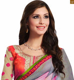 STYLISH BAZAAR PRESENTATION STUNNING FUSION OF GREY AND GREEN COLORED SAREE JOINED TO PINK AND CREAM COLORED BLOUSE RTDOV9108