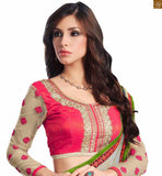 A STYLISH BAZAAR PRESENTATION STUNNING FUSION OF GREY AND GREEN COLORED SAREE JOINED TO PINK AND CREAM COLORED BLOUSE RTDOV9108