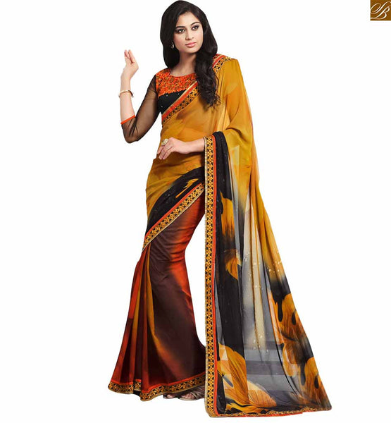 STYLISH BAZAAR GRAND MIX OF MUSTARD AND BLACK IN EMBROIDERED SARI ALONG WITH BLUE BLACK BLOUSE RTDOV9109