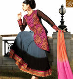 ANARKALI SUITS ONLINE SHOPPING PAY ON DELIVERY VDYES910 BEWITCHING BLACK AND GREY ANARKALI WITH SANTOON SALWAR AND ORANGE AND PINK CHIFFON DUPATTA