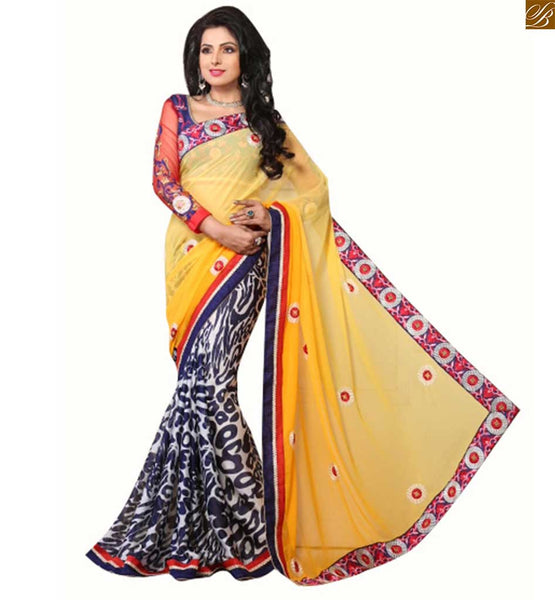 Blouse designs 2015 fashion trends best women saree online india amazing floral embroidery border work on pallu with embroidered long sleeve contrast blouse designs for designer saree