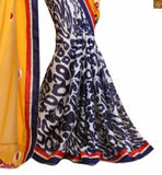 Off white, blue and yellow & georgette half and half indian party wear saree with red and blue embroidered full sleeve blouse blouse designs 2015 fashion trends best women saree online india