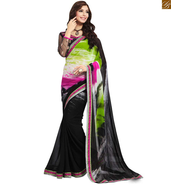 STYLISH BAZAAR DAZZLING GREEN AND BLACK DESIGNED SARI WITH MATCHING BLACK BLOUSE RTDOV9110
