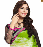 STYLISH BAZAAR PRESENTS DAZZLING GREEN AND BLACK DESIGNED SARI WITH MATCHING BLACK BLOUSE RTDOV9110