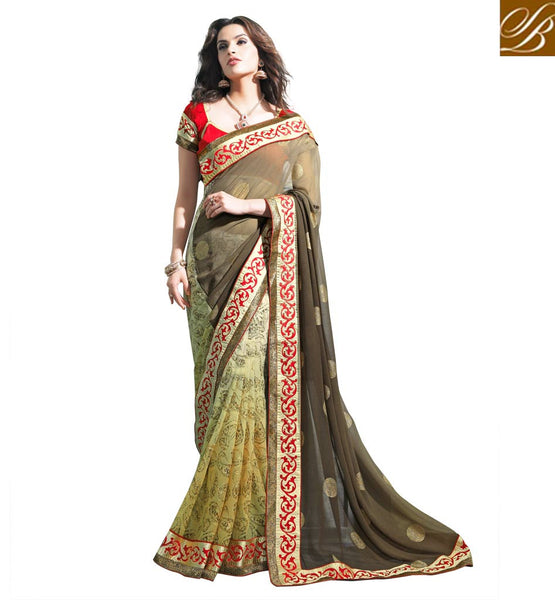 DESIGNER SAREE BLOUSE ONLINE SHOPPING IN INDIA CLASSIC CREAM AND GREY PARTY WEAR GEORGETTE SARI WITH CONTRAST RED CHOLI FABRIC ETHNIC MOTIF WEAVING ON THE LOWER PORTION OF THE SARI ADDS GLAMOUR WITH LOVELY LACE BORDER