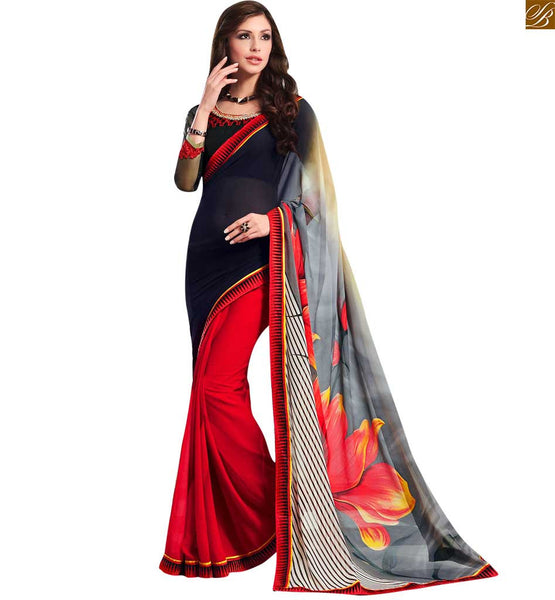 STYLISH BAZAAR ELEGANT RED, BLACK AND GREY COLORED GEORGETTE SAREE TEAMED UP WITH A BLACK BLOUSE RTDOV9111