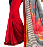 FROM THE HOUSE OF STYLISH BAZAAR ELEGANT RED, BLACK AND GREY COLORED GEORGETTE SAREE TEAMED UP WITH A BLACK BLOUSE RTDOV9111