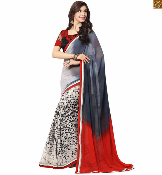 A STYLISH BAZAAR PRESENTS PREMIUM GREY, RED AND WHITE COLORED SARI PARTNERED WITH A BLACK BLOUSE RTDOV9112