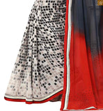 STYLISH BAZAAR INTRODUCES PREMIUM GREY, RED AND WHITE COLORED SARI PARTNERED WITH A BLACK BLOUSE RTDOV9112