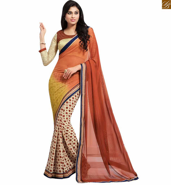 STYLISH BAZAAR CHARMING BROWN AND CREAM COLORED SAREE ADJOINED TO A CREAM BLOUSE RTDOV9113