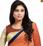 FROM STYLISH BAZAAR CHARMING BROWN AND CREAM COLORED SAREE ADJOINED TO A CREAM BLOUSE RTDOV9113