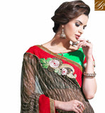 EXCITING GREEN AND RED COLOR DUPION MATERIAL CHOLI TO MATCH WITH LOVELY BROWN GEORGETTE SARI AWESOME ABSTRACT PRINT ALL OVER THE SAREE WITH CONTRAST LACE BORDER AND EMBROIDERY WORK