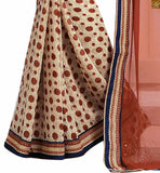 FROM THE HOUSE OF STYLISH BAZAAR CHARMING BROWN AND CREAM COLORED SAREE ADJOINED TO A CREAM BLOUSE RTDOV9113.