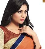 BROUGHT TO YOU BY STYLISH BAZAAR CHARMING BROWN AND CREAM COLORED SAREE ADJOINED TO A CREAM BLOUSE RTDOV9113