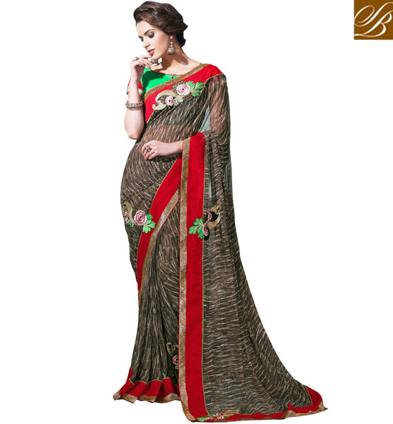 DESIGNER SARI BLOUSE PATTERNS LATEST FASHION EXCITING GREEN AND RED COLOR DUPION MATERIAL CHOLI TO MATCH WITH LOVELY BROWN GEORGETTE SARI