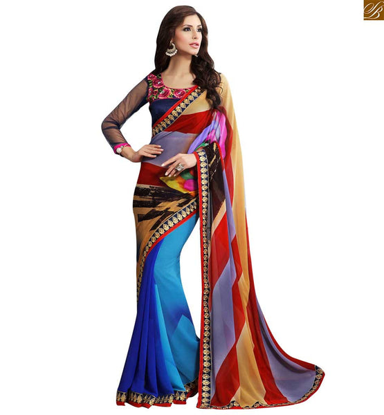 BROUGHT TO YOU BY STYLISH BAZAAR DELIGHTFUL BLUE AND RED COLORED SARI UNITED TO A BLUE BLOUSE RTDOV9114