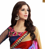 STYLISH BAZAAR PRESENTS DELIGHTFUL BLUE AND RED COLORED SARI UNITED TO A BLUE BLOUSE RTDOV9114
