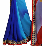 A STYLISH BAZAAR PRESENTATION DELIGHTFUL BLUE AND RED COLORED SARI UNITED TO A BLUE BLOUSE RTDOV9114