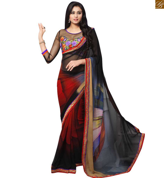 STYLISH BAZAAR INTRODUCES LOVELY BLACK AND MAROON COLORED GEORGETTE SAREE COUPLED WITH A BLACK BLOUSE RTDOV9115