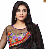 STYLISH BAZAAR LOVELY BLACK AND MAROON COLORED GEORGETTE SAREE COUPLED WITH A BLACK BLOUSE RTDOV9115