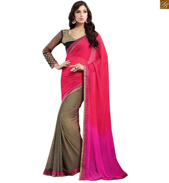 FROM THE HOUSE OF STYLISH BAZAAR EXQUSITE PINK AND CREAM COLORED SARI ALONG WITH A BLACK BLOUSE RTDOV9116