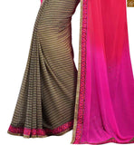 STYLISH BAZAAR PRESENTS EXQUSITE PINK AND CREAM COLORED SARI ALONG WITH A BLACK BLOUSE RTDOV9116