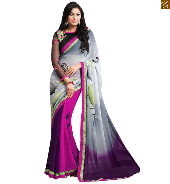 A STYLISH BAZAAR ALLURING GREY, PINK AND PURPLE COLORED SAREE CONJUGATED A BLACK BLOUSE RTDOV9117