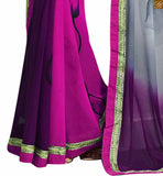 STYLISH BAZAAR INTRODUCES ALLURING GREY, PINK AND PURPLE COLORED SAREE CONJUGATED A BLACK BLOUSE RTDOV9117