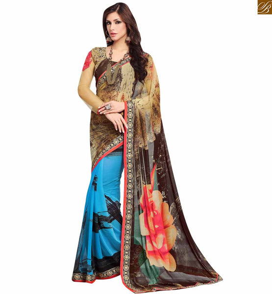 STYLISH BAZAAR INTRODUCES FASCINATING CREAM, COFFEE AND SKY BLUE COLORED GEORGETTE SARI LINKED TO A CREAM AND COFFEE BLOUSE RTDOV9118