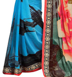 BROUGHT TO YOU BY STYLISH BAZAAR FASCINATING CREAM, COFFEE AND SKY BLUE COLORED GEORGETTE SARI LINKED TO A CREAM AND COFFEE BLOUSE RTDOV9118