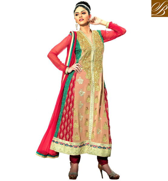 BUY EVERSTYLISH WOMEN ANARKALI DRESS DESIGNS  BEIGE GEORGETTE DESIGNER SUIT WITH MAROON SANTOON SALWAR AND DUSTY PINK CHIFFON DUPATTA
