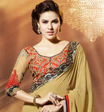 GEORGETTE CHIKOO COLOR CASUAL WEAR SAREE RTAH911