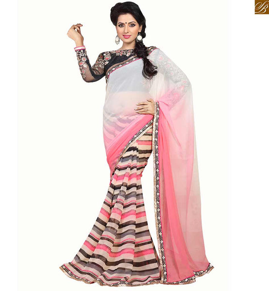 STYLISH BLOUSE DESIGNS CATALOGUE TYPE PAIRED WITH LATEST SAREE PATTERN 2015 | Black Dupion-Net  Blouse and Cream and dusty pink new collection party wear saree