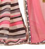 Black Dupion-Net  Blouse and Cream and dusty pink new collection party wear saree