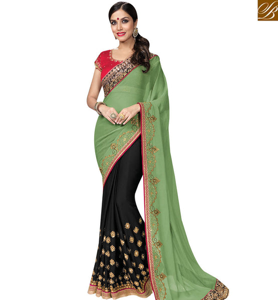 STYLISH BAZAAR AMUSING OLIVE GREEN & BLACK COLORED HALF & HALF SAREE MHNRT9126
