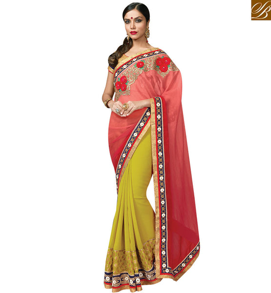 STYLISH BAZAAR DELIGHTFUL RED & MUSTARD COLORED HALF & HALF SAREE MHNRT9127