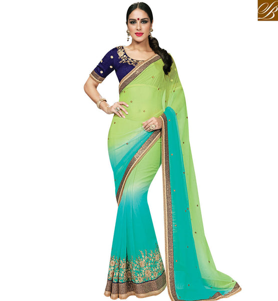 STYLISH BAZAAR GLOSSY PISTA & SKY BLUE COLORED SAREE WITH GREAT BORDER WORK MHNRT9128